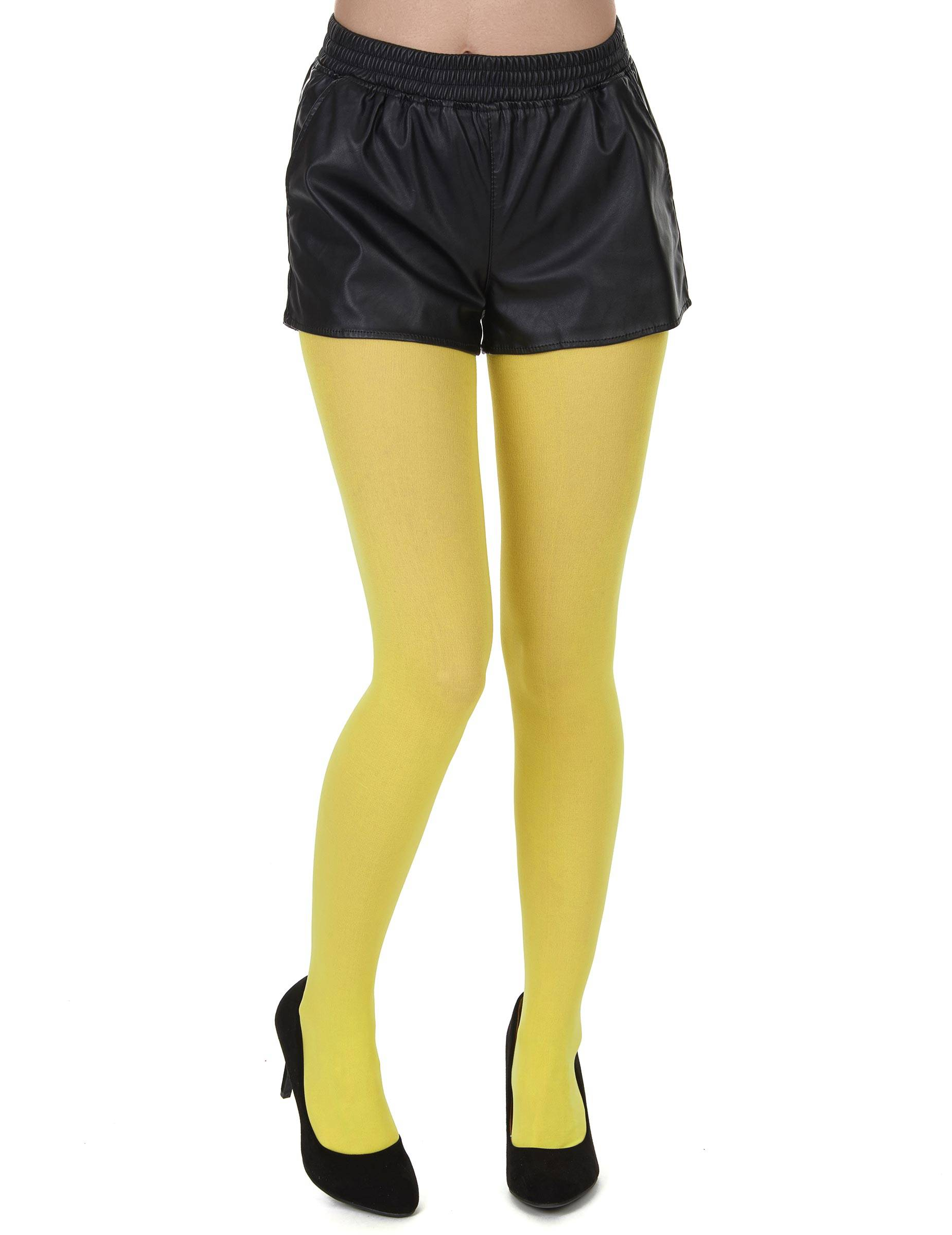 Deguisetoi Collants opaques jaunes adulte - Taille: XL