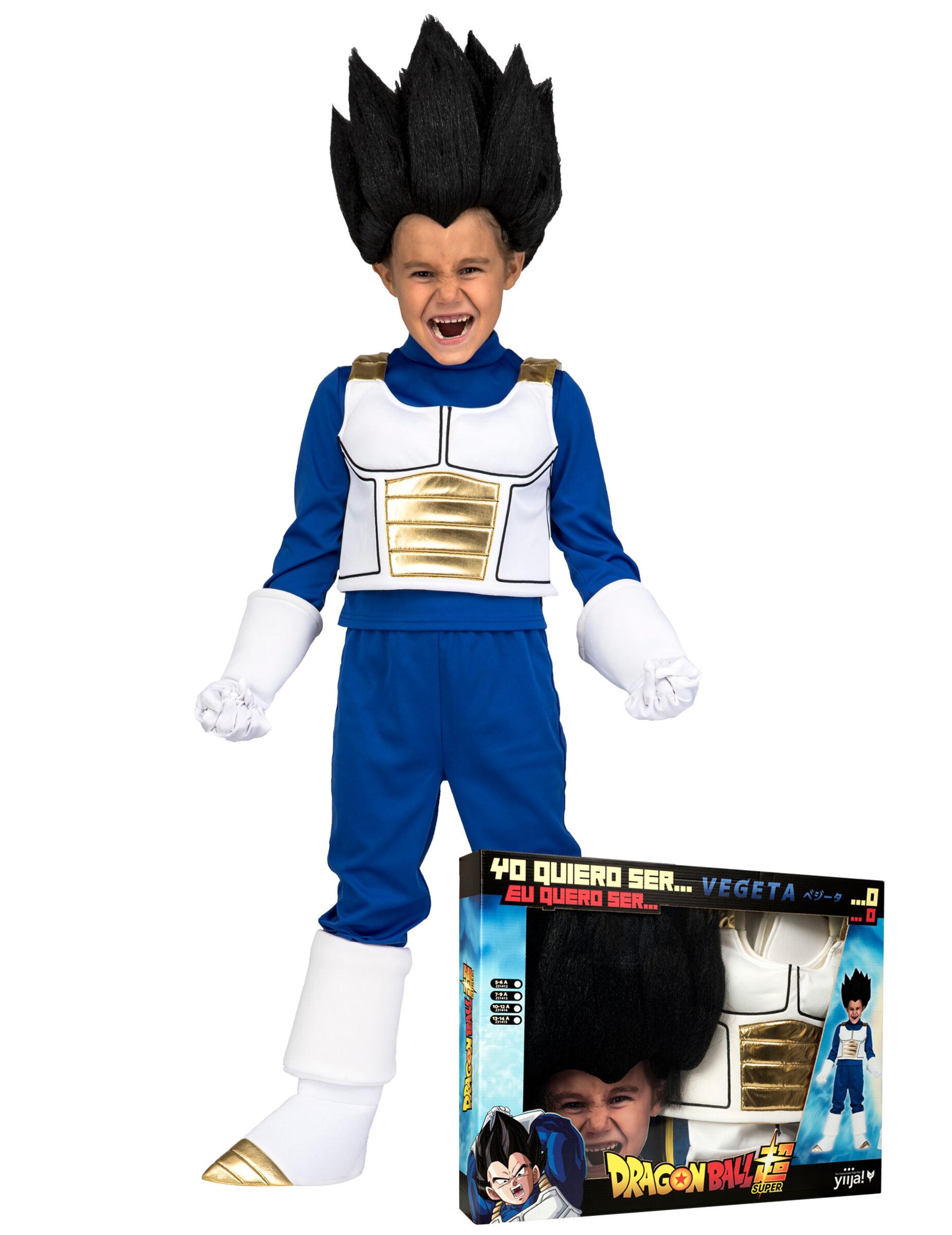 Deguisetoi Coffret déguisement avec perruque Vegeta Dragon Ball enfant - Taille: 10 - 12 ans (140 - 152 cm)