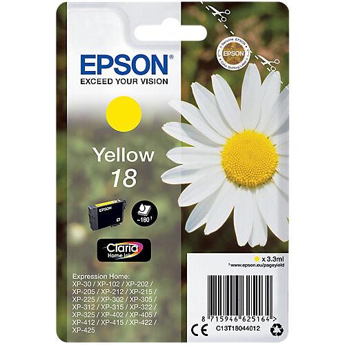 Epson Cartouche jet d'encre Epson D'origine 18 Jaune C13T18044012