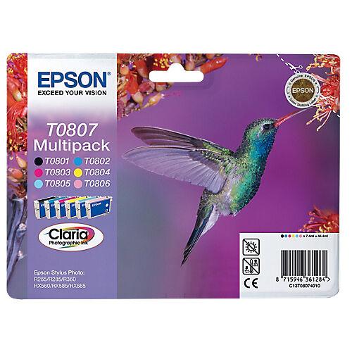 Epson Cartouche jet d'encre Epson D'origine T0807 Noir  Cyan  Magenta  Jaune C13T08074011 6 Unités