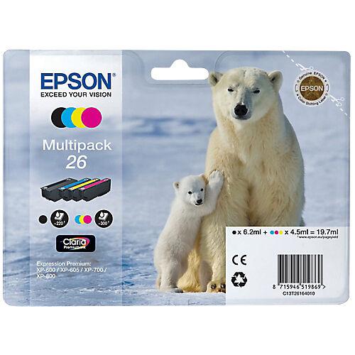Epson Cartouche jet d'encre Epson D'origine 26 Noir  Cyan  Magenta  Jaune C13T26164010 4 Unités