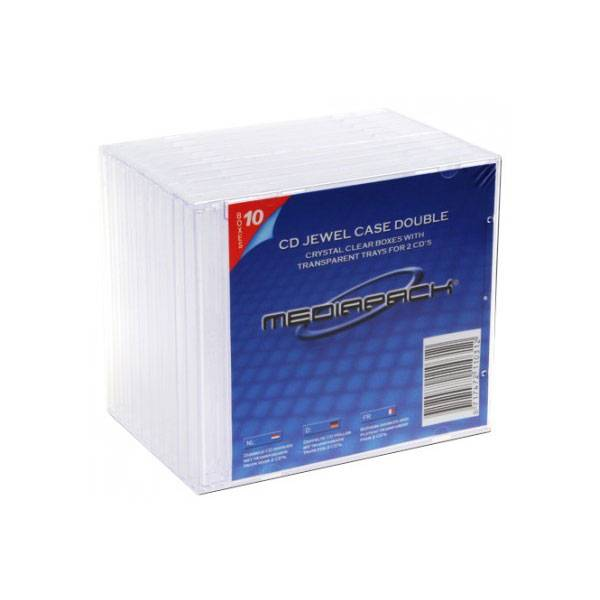 Pack 10 boitiers cd jewelbox std 2 cd transparents