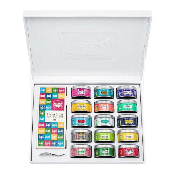 Kusmi Tea Coffret La Collection - Kusmi Tea - Coffret 15 miniatures + 100 Filtres à thé - 365 gr