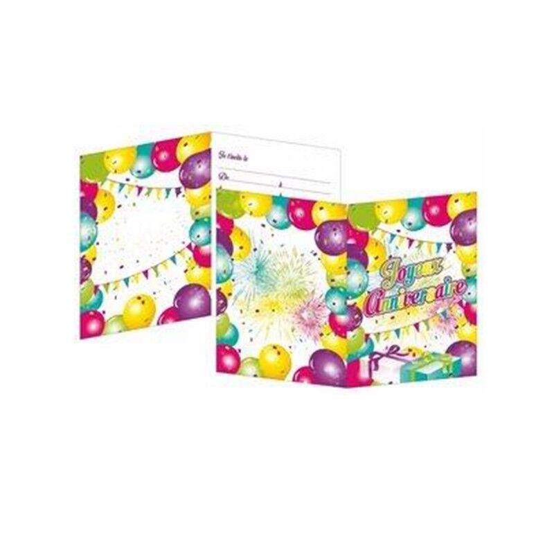 Générique 8 CARTES D'INVITATION JOYEUX ANNIVERSAIR