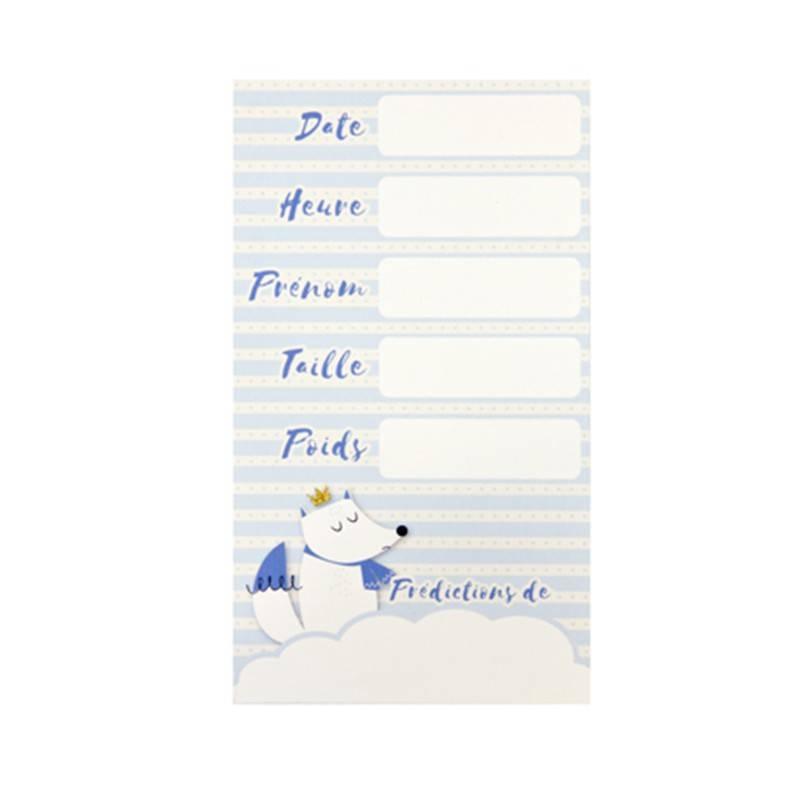 Générique 6 CARTES PRÉDICTION BABY SHOWER BLEU