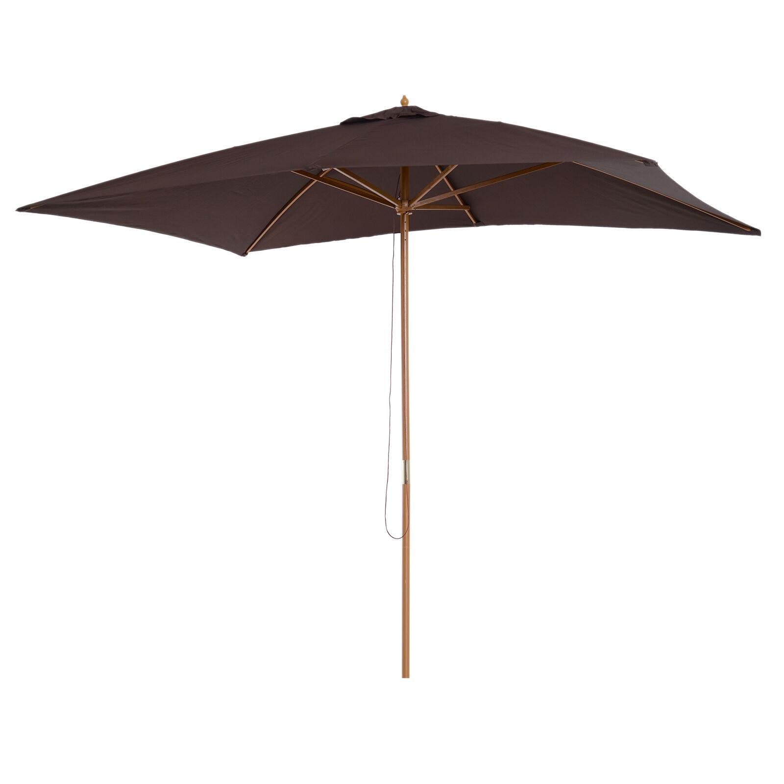 Outsunny Parasol droit rectangulaire chocolat