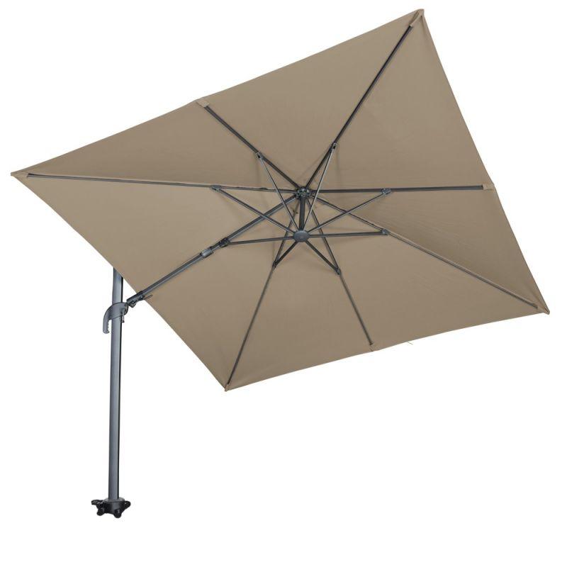 Arbonie Parasol déporté inclinable taupe 3x3m