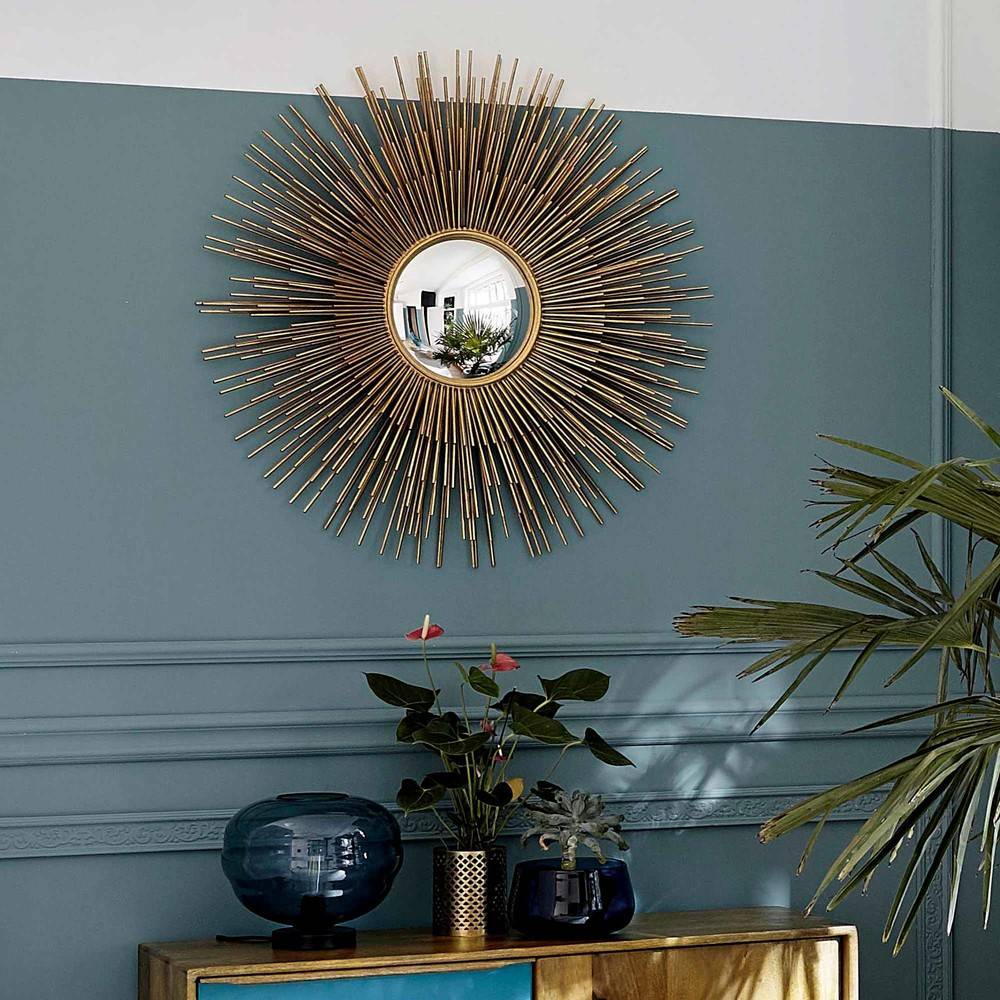 Maisons du Monde Miroir soleil en métal doré D101