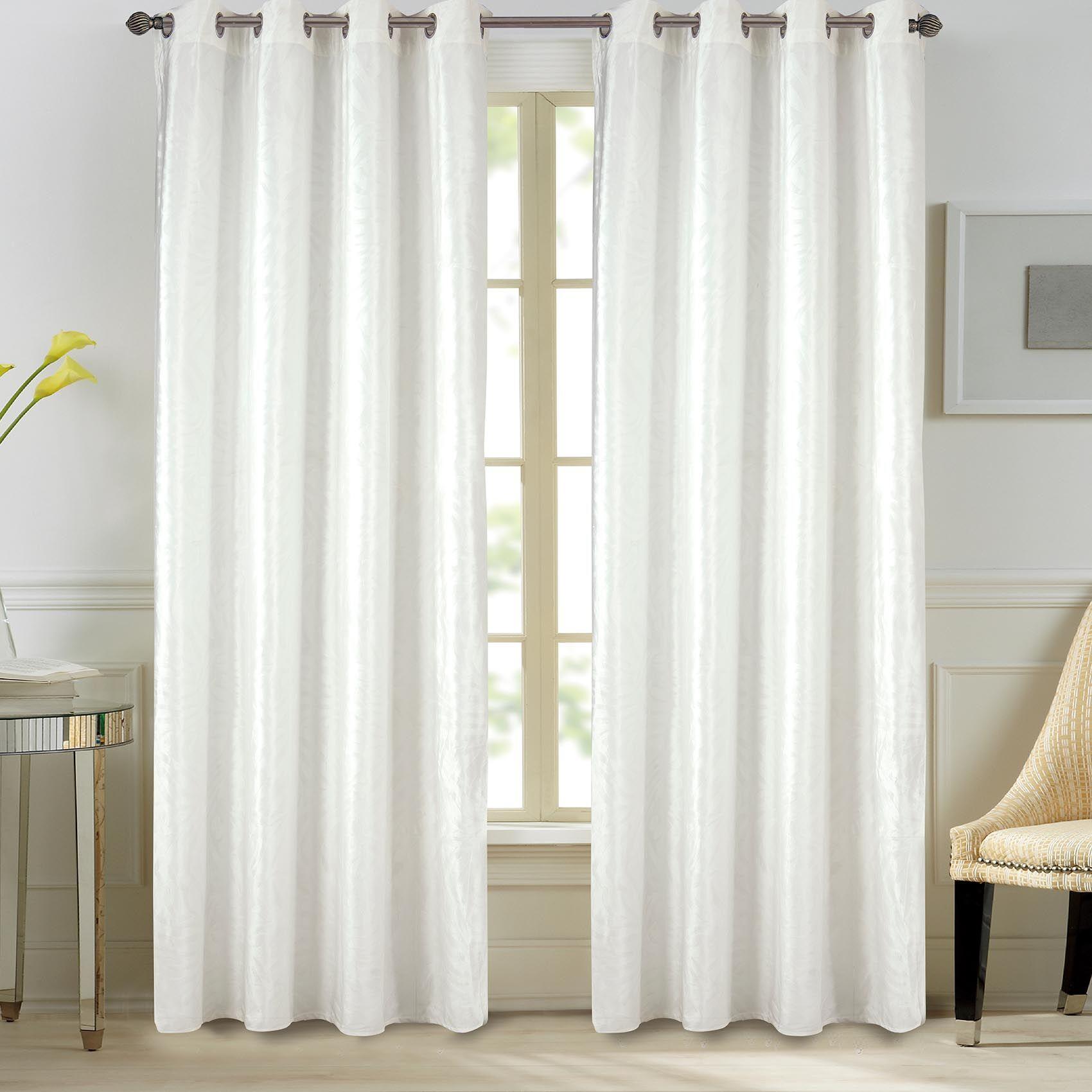 Home Maison Paire de rideaux en velours et motifs frappés velours blanc 260x140