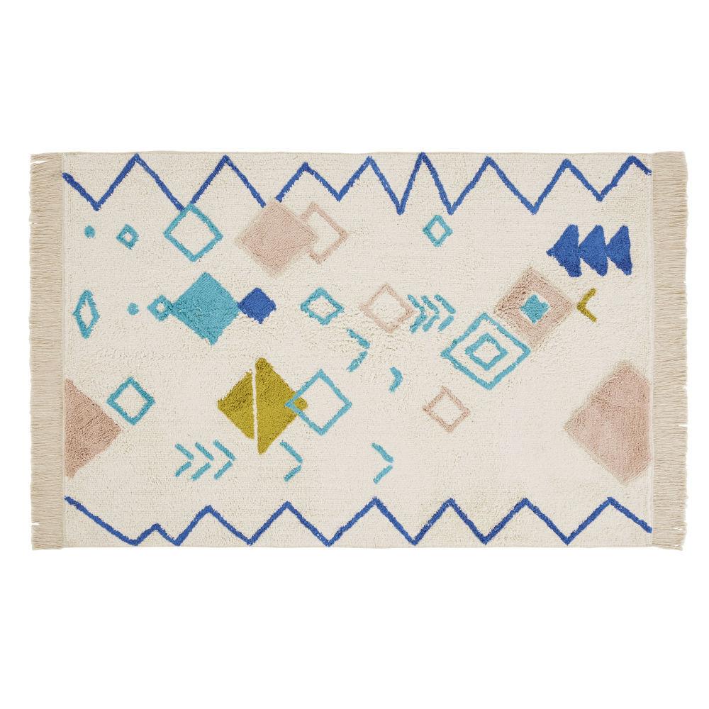 Maisons du Monde Tapis berbre en coton écru, vert et jaune moutarde  motifs 120x180