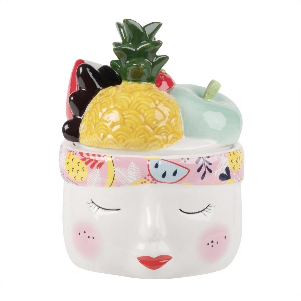 Maisons du Monde Boîte à bijoux visage féminin et fruits en céramique multicolore