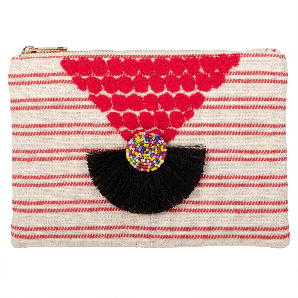 Maisons du Monde Pochette en coton écru motifs à rayures rouges et décor tricoté