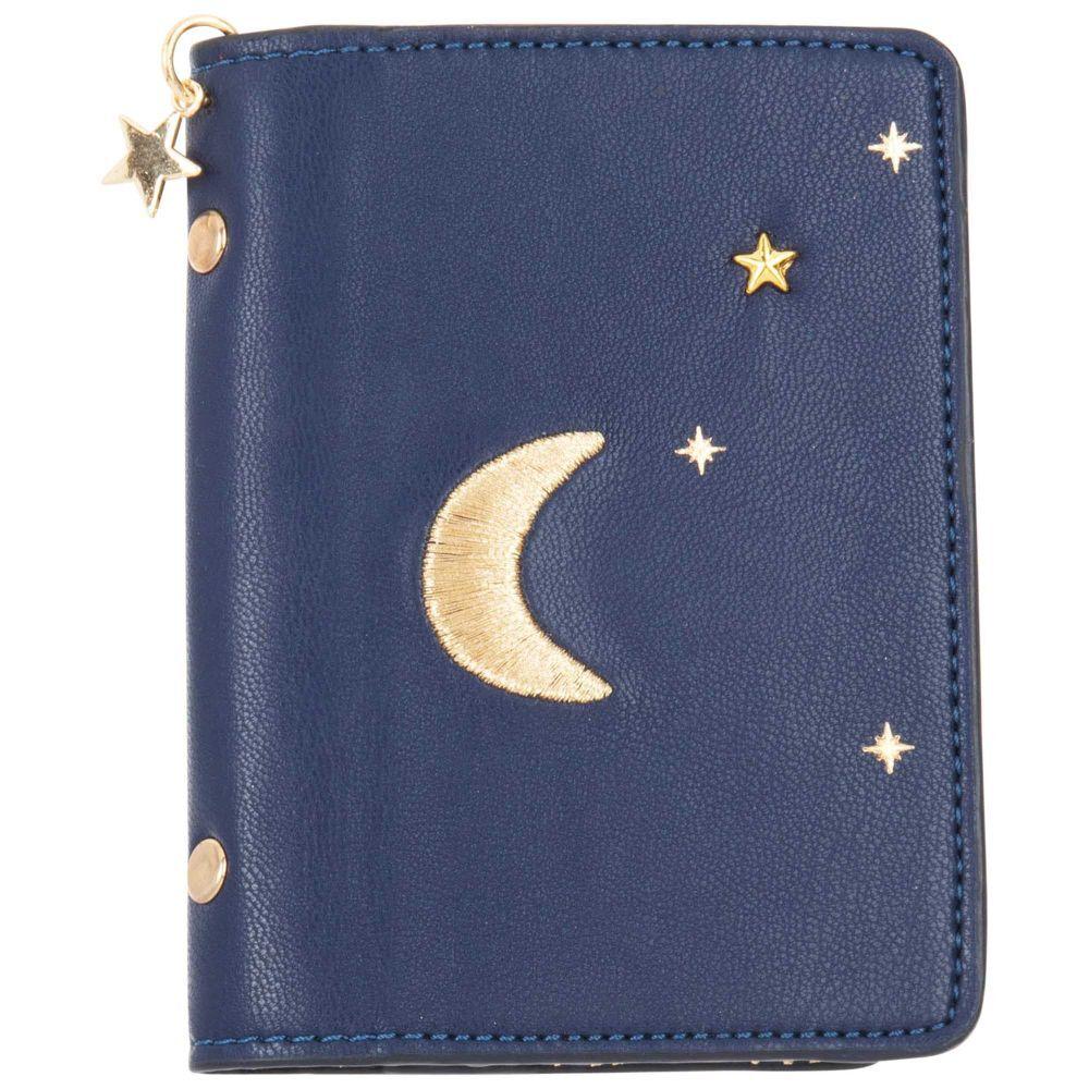 Maisons du Monde Porte-cartes en coton bleu marine imprimé lune et étoiles