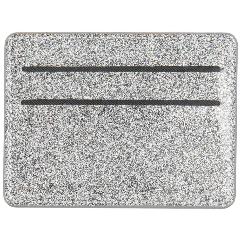 Maisons du Monde Porte-cartes en coton gris à paillettes argentées imprimé feuillage
