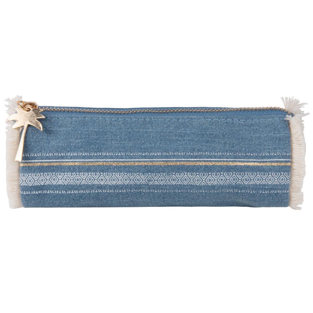 Maisons du Monde Trousse en coton bleu jean à franges écrues