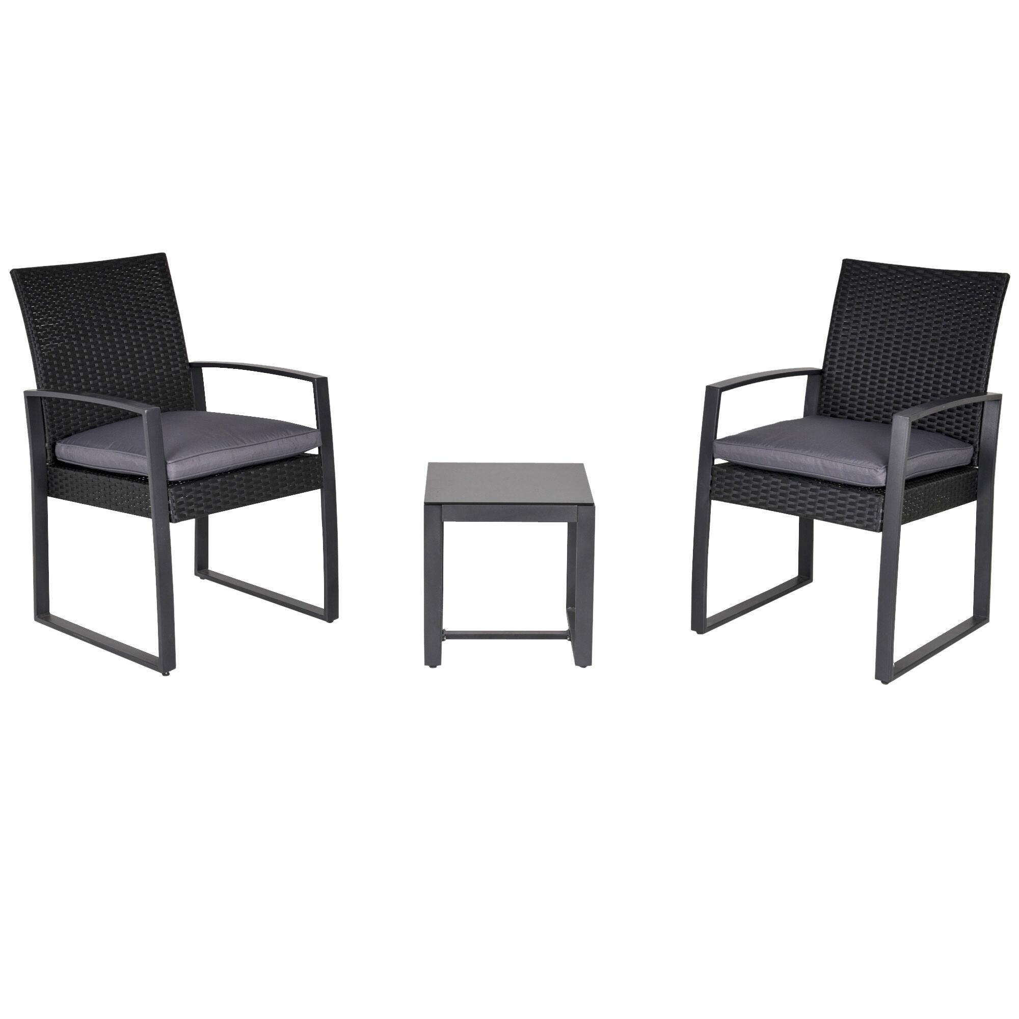 Outsunny Salon de jardin 2 places avec table basse avec coussins gris noir