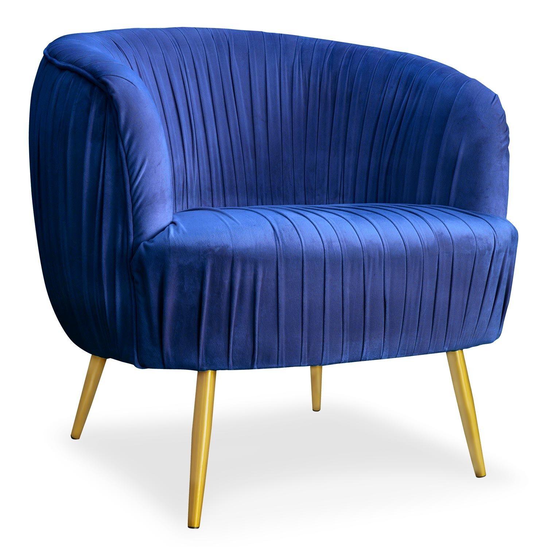 Menzzo Fauteuil velours bleu pieds métal or
