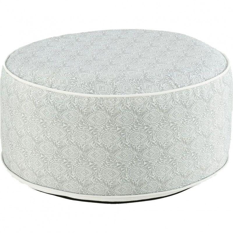 Meubletmoi Pouf rond gonflable en tissu gris motifs