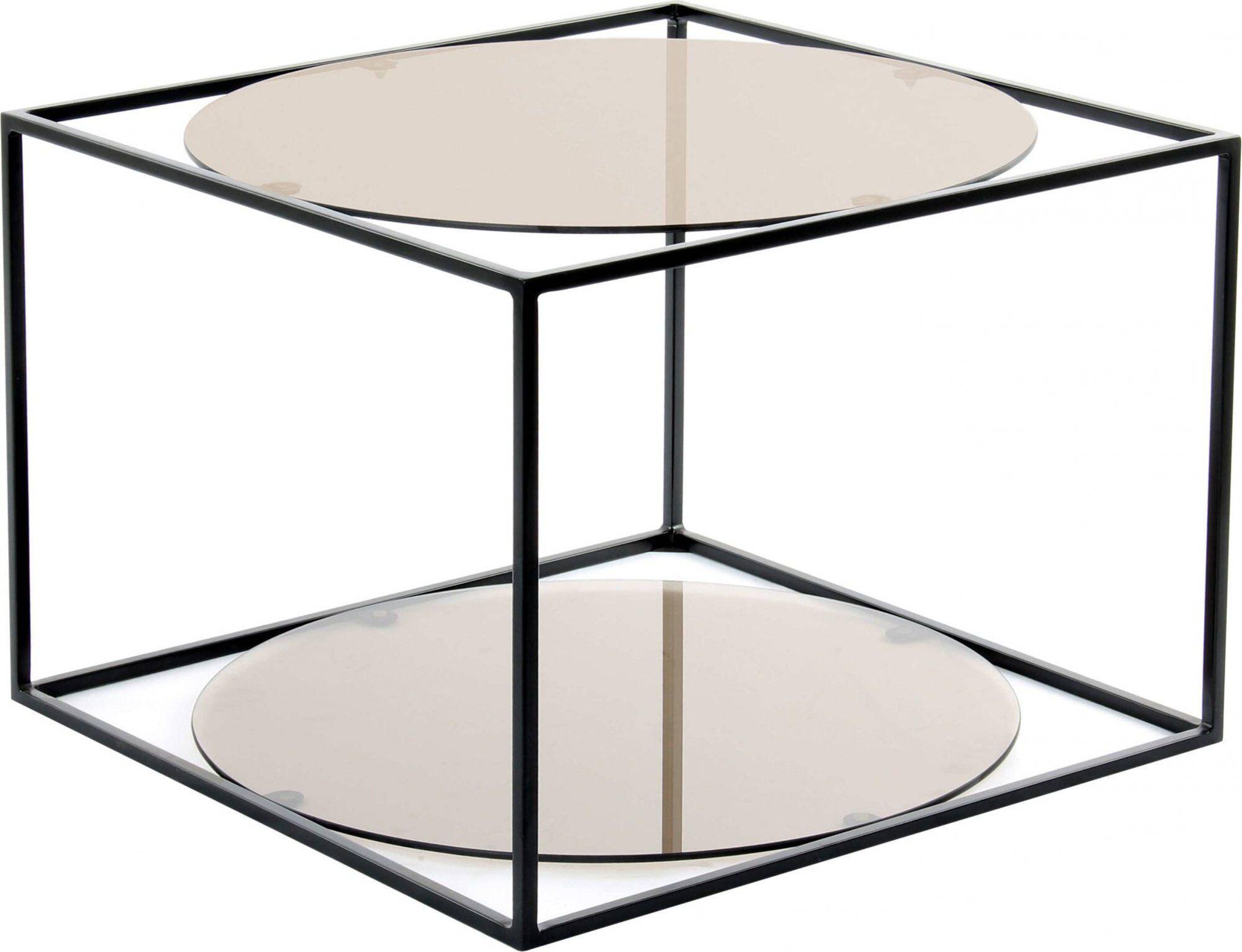 ReCollection Table basse rectangulaire plateau verre fumé gris l50cm