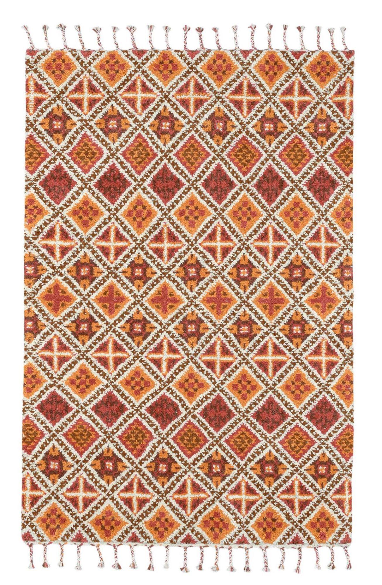 THEKO Tapis Berber du Maroc en laine naturelle Terre 90x160