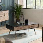 Maisonetstyles Table basse 2 tiroirs en bois marqueté et métal - LAUSY... par LeGuide.com Publicité