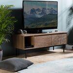 Maisonetstyles Meuble TV 2 portes abattantes 130 cm en acacia et métal... par LeGuide.com Publicité