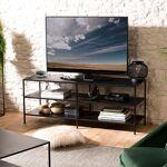 Maisonetstyles Meuble TV 2 étagères 140x45x56 cm en métal noir - PILEA... par LeGuide.com Publicité