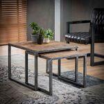 Maisonetstyles Lot de 2 tables d'appoint 60 et 50 cm en bois brut... par LeGuide.com Publicité