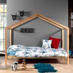 Maisonetstyles Lit cabane 90x200 cm avec matelas en pin naturel - NINOU... par LeGuide.com Publicité