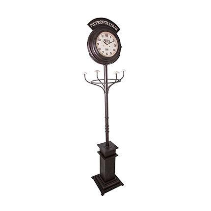 Maisonetstyles Pendule de gare avec portemanteau en fer et verre