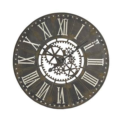 Maisonetstyles Horloge industrielle ronde 91 cm en fer noir