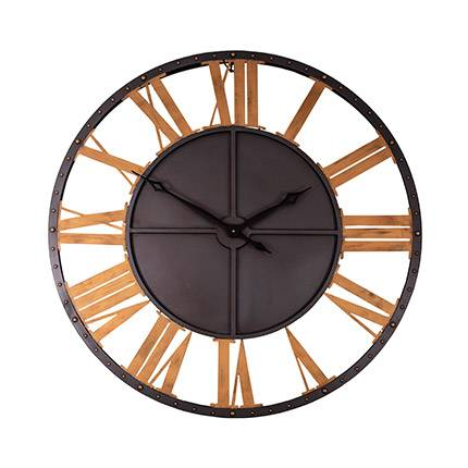 Maisonetstyles Horloge industrielle chiffres romains 100 cm en métal noir et doré