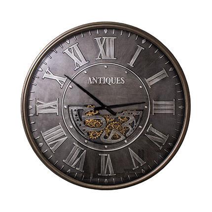 Maisonetstyles Horloge Atelier ronde 102 cm en verre et métal gris