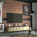 Maisonetstyles Meuble TV 3 portes 190x40,5x41,5 cm chêne et noir - SOREN... par LeGuide.com Publicité