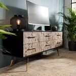 Maisonetstyles Meuble TV 6 tiroirs en bois marqueté et métal - LAUSY... par LeGuide.com Publicité