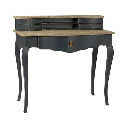 Maisonetstyles Bureau avec rangements en bois noir et plateaux naturels - MURIANO