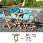 Maisonetstyles Ensemble en teck table carrée 60x60 cm + 2 chaises pliantes... par LeGuide.com Publicité