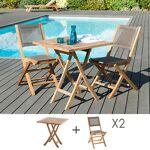 Maisonetstyles Ensemble en teck table carrée 70x70 cm + 2 chaises pliantes... par LeGuide.com Publicité