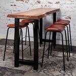 Maisonetstyles Table de bar 150 cm en acacia et métal noir - STACY Rendez... par LeGuide.com Publicité