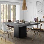 Maisonetstyles Table à manger carrée 150 cm décor béton et noir - DINNY... par LeGuide.com Publicité