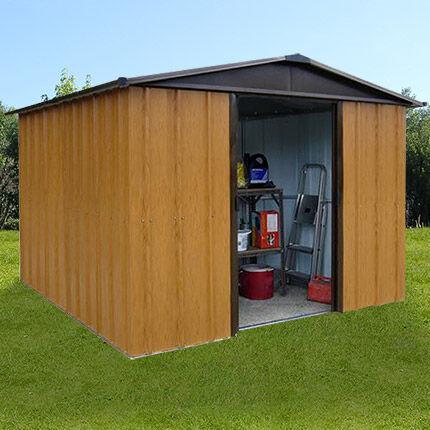 Maisonetstyles Abri de jardin métal 9 m² - aspect bois et marron
