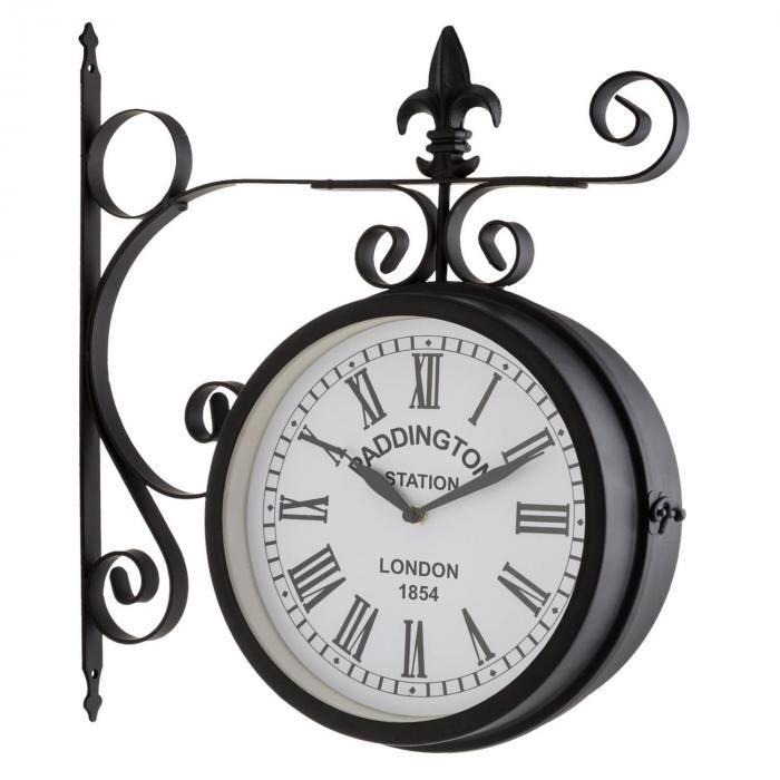 Blumfeldt Paddington Horloge murale rétro intérieur & extérieur 41x45x11cm -noir