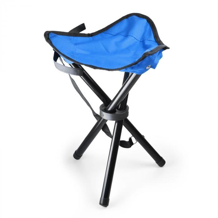 DURAMAXX Chaise de camping pêche trépied mobile bleue noir 500g