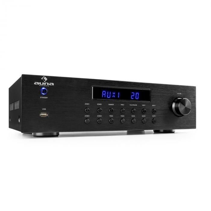 Auna AV2-CD850BT ampli stéréo 4 zones 5x80 W RMS Bluetooth USB CD - noir