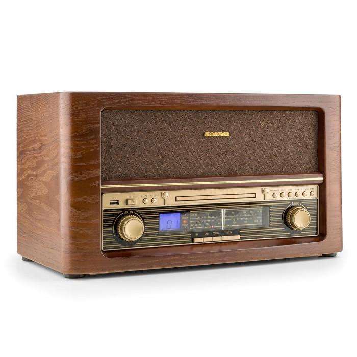 Auna Belle Epoque 1906 Chaîne hifi rétro CD USB MP3 FM