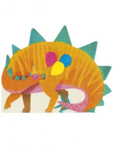 VegaooParty 16 Serviettes en papier forme dinosaure orange Taille Unique