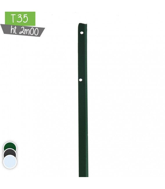 Poteau en T35 2m00 - Couleur - Vert 6005, Hauteur - Ht 2m00
