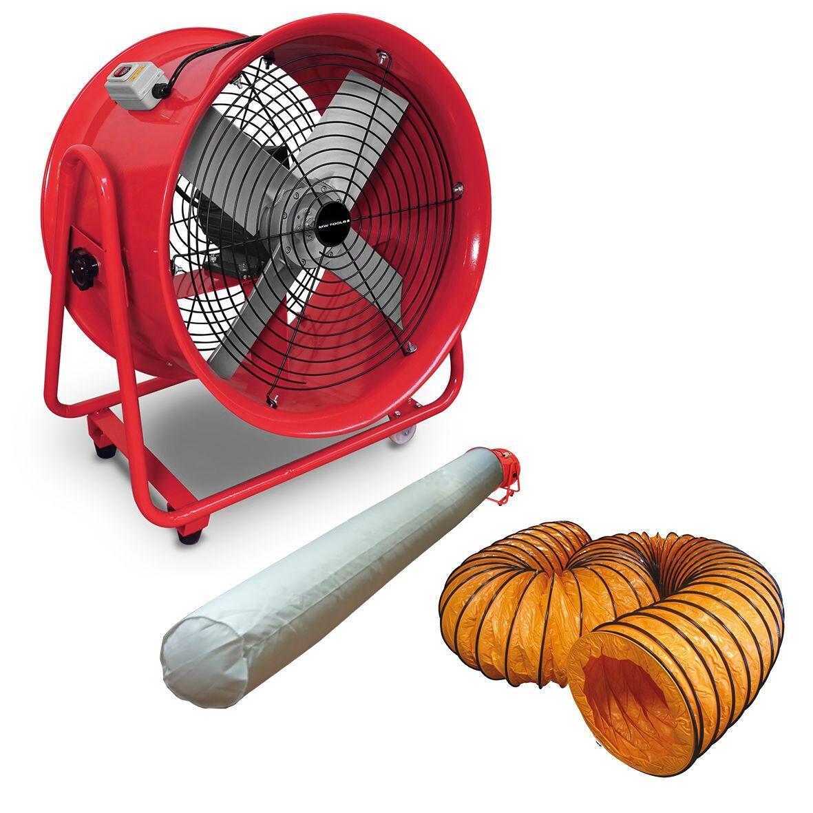 Mw-tools Ventilateur extracteur 500 mm - 1100W 380V avec tuyau et sac filtrant MW-Tools MV500R3SET