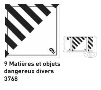 ATB 3768 étiq MATIERES ET OBJETS DANGEREUX DIVERS 100x100mm rouleaux de 1000
