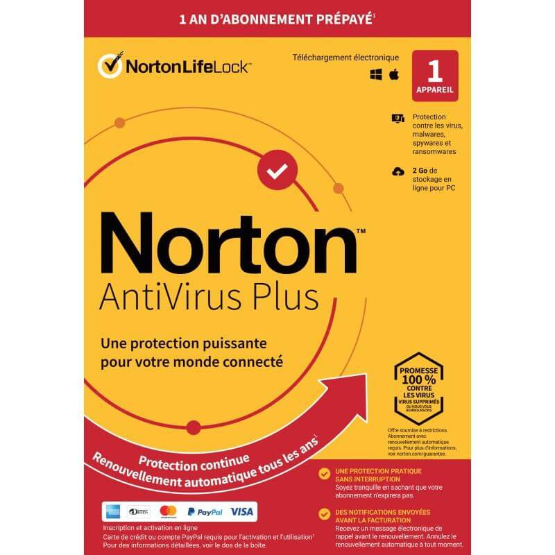Symantec Norton Antivirus Plus 2021 - 1 Appareil 1 An
